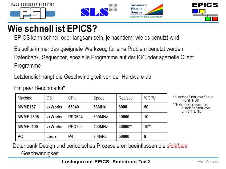 Loslegen mit EPICS: Einleitung Teil 2 Elke Zimoch Wie schnell ist EPICS? EPICS kann schnell oder langsam sein, je nachdem, wie es benutzt wird! Es sol