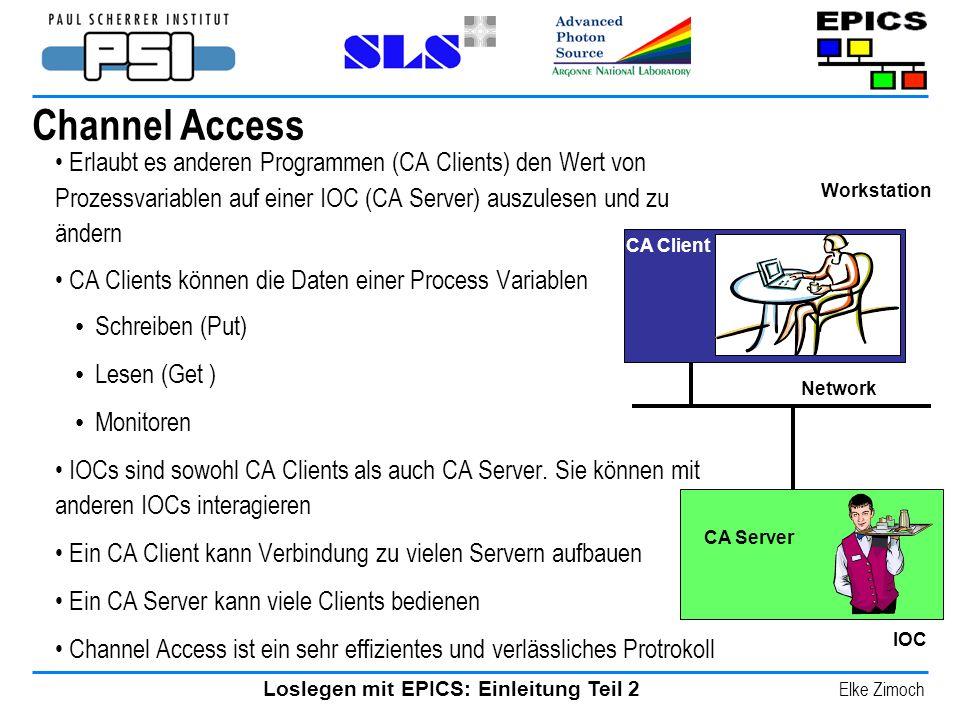 Loslegen mit EPICS: Einleitung Teil 2 Elke Zimoch Channel Access Erlaubt es anderen Programmen (CA Clients) den Wert von Prozessvariablen auf einer IO