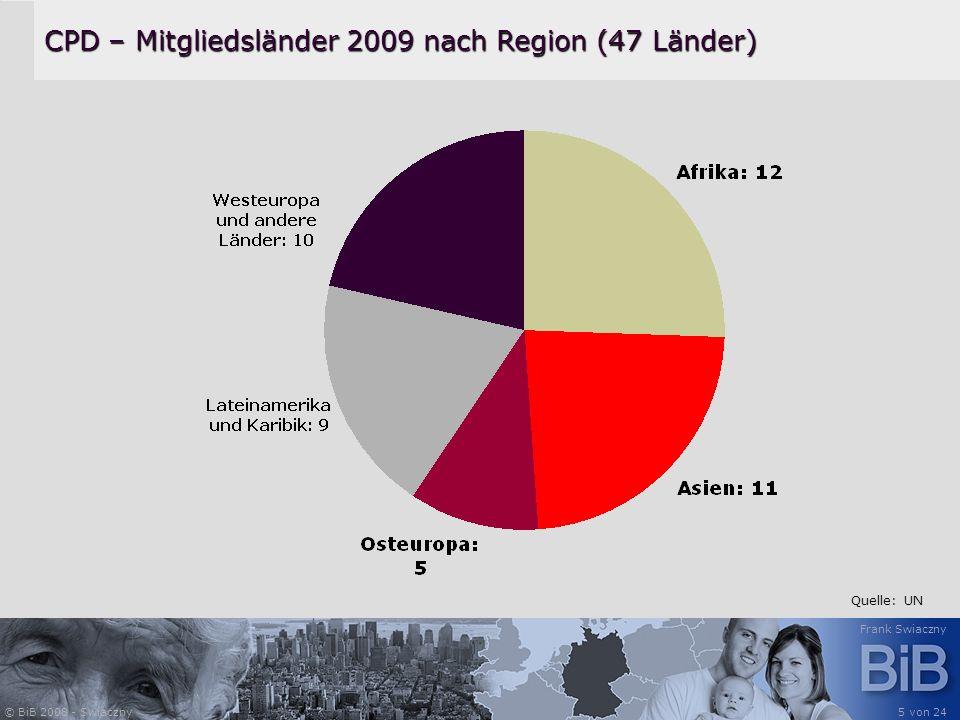 © BiB 2008 - Swiaczny Frank Swiaczny 5 von 24 CPD – Mitgliedsländer 2009 nach Region (47 Länder) Quelle: UN