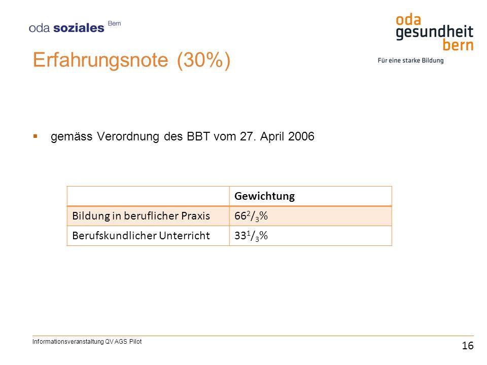 Erfahrungsnote (30%) gemäss Verordnung des BBT vom 27. April 2006 16 Informationsveranstaltung QV AGS Pilot Gewichtung Bildung in beruflicher Praxis66