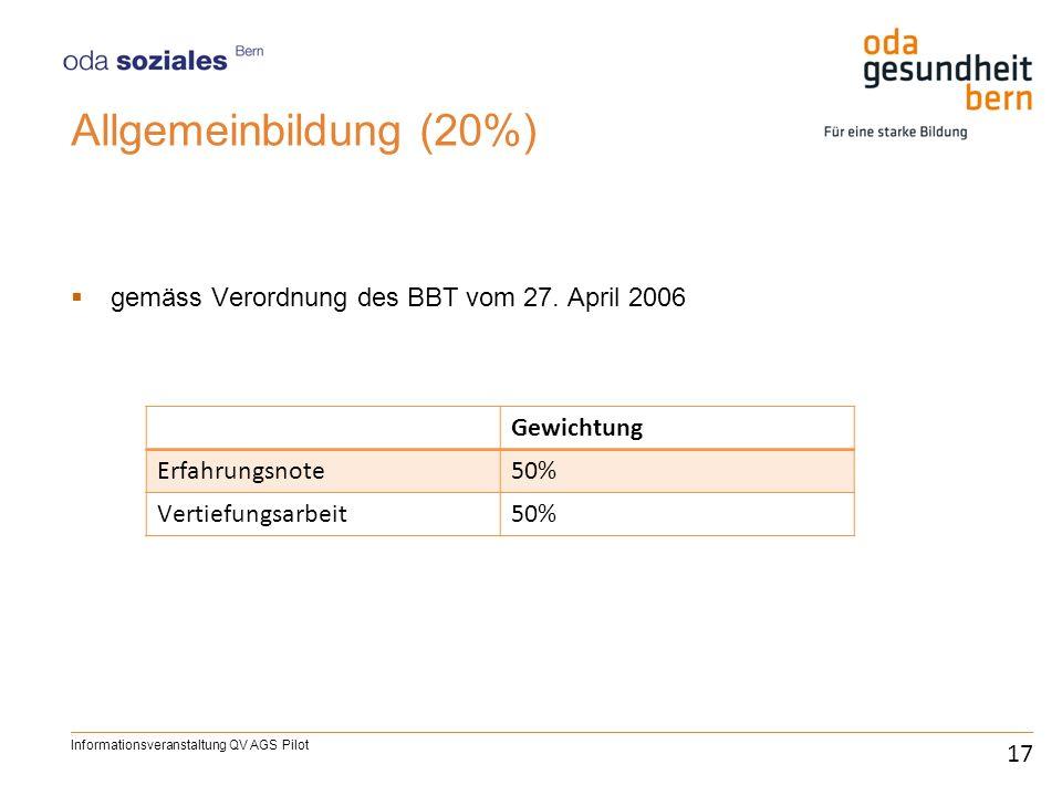 Allgemeinbildung (20%) gemäss Verordnung des BBT vom 27. April 2006 17 Informationsveranstaltung QV AGS Pilot Gewichtung Erfahrungsnote50% Vertiefungs