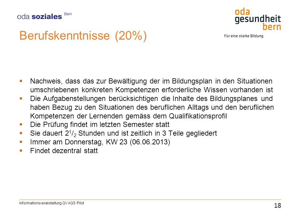 Berufskenntnisse (20%) Nachweis, dass das zur Bewältigung der im Bildungsplan in den Situationen umschriebenen konkreten Kompetenzen erforderliche Wis