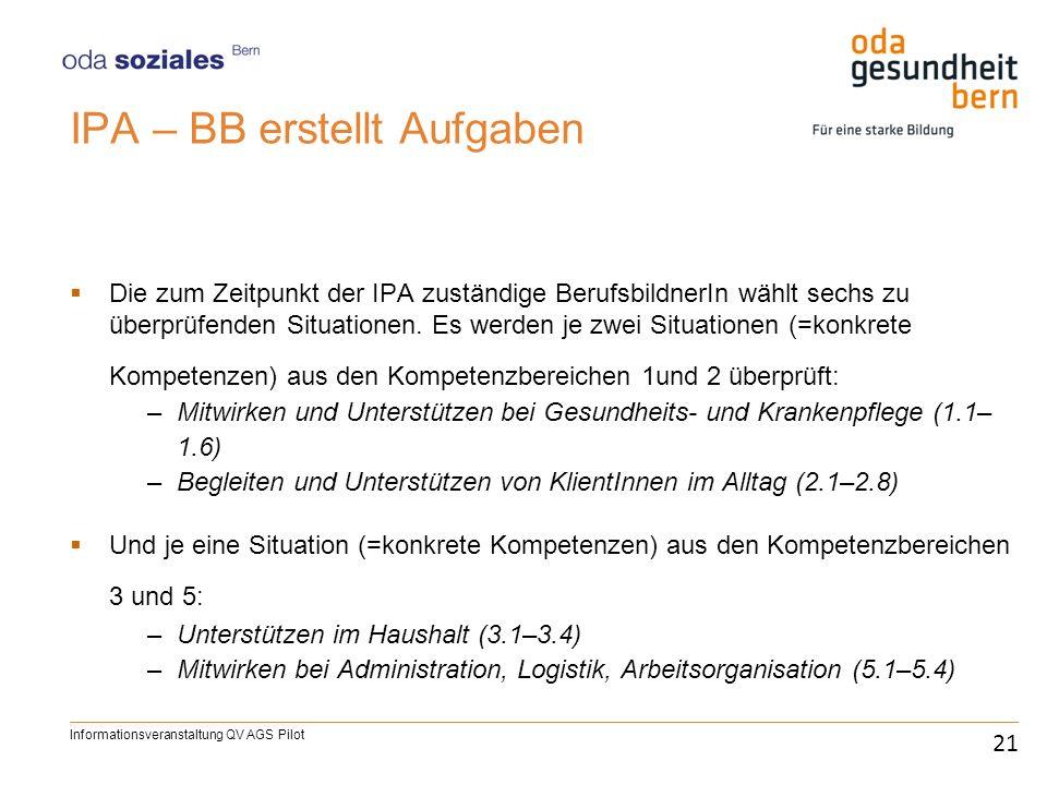 IPA – BB erstellt Aufgaben Die zum Zeitpunkt der IPA zuständige BerufsbildnerIn wählt sechs zu überprüfenden Situationen. Es werden je zwei Situatione