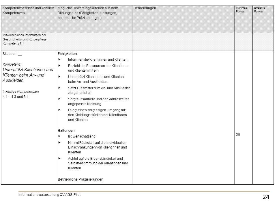 IPA 24 Informationsveranstaltung QV AGS Pilot Kompetenzbereiche und konkrete Kompetenzen Mögliche Bewertungskriterien aus dem Bildungsplan (Fähigkeite