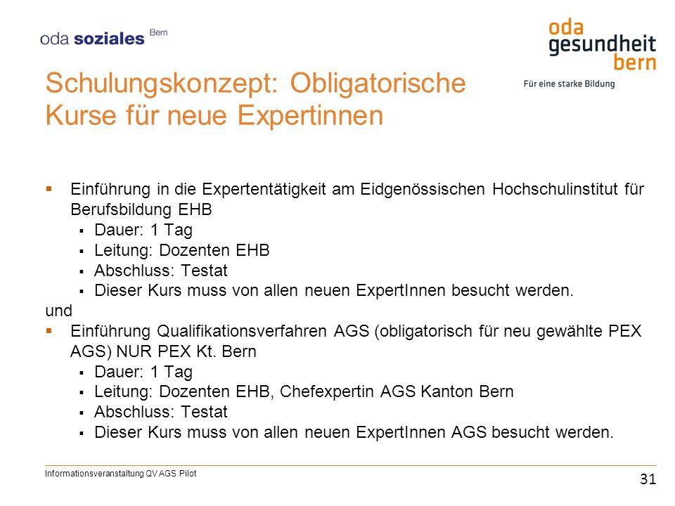 Schulungskonzept: Obligatorische Kurse für neue Expertinnen Einführung in die Expertentätigkeit am Eidgenössischen Hochschulinstitut für Berufsbildung