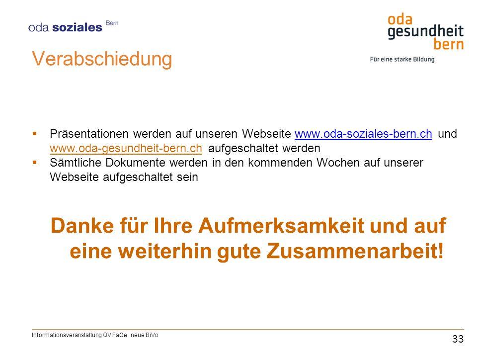 Verabschiedung Präsentationen werden auf unseren Webseite www.oda-soziales-bern.ch und www.oda-gesundheit-bern.ch aufgeschaltet werdenwww.oda-soziales
