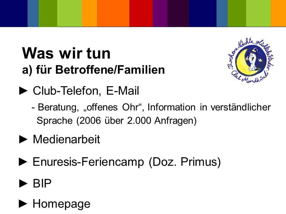 Was wir tun a) für Betroffene/Familien Homepage Club-Telefon, E-Mail - Beratung, offenes Ohr, Information in verständlicher Sprache (2006 über 2.000 A