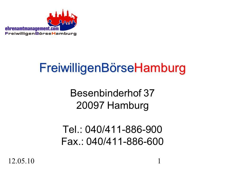 12.05.101 FreiwilligenBörseHamburg FreiwilligenBörseHamburg Besenbinderhof 37 20097 Hamburg Tel.: 040/411-886-900 Fax.: 040/411-886-600