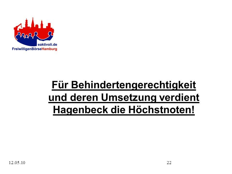 12.05.1022 Für Behindertengerechtigkeit und deren Umsetzung verdient Hagenbeck die Höchstnoten!