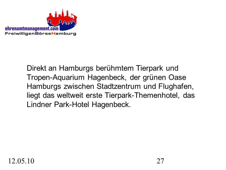 12.05.1027 Direkt an Hamburgs berühmtem Tierpark und Tropen-Aquarium Hagenbeck, der grünen Oase Hamburgs zwischen Stadtzentrum und Flughafen, liegt das weltweit erste Tierpark-Themenhotel, das Lindner Park-Hotel Hagenbeck.