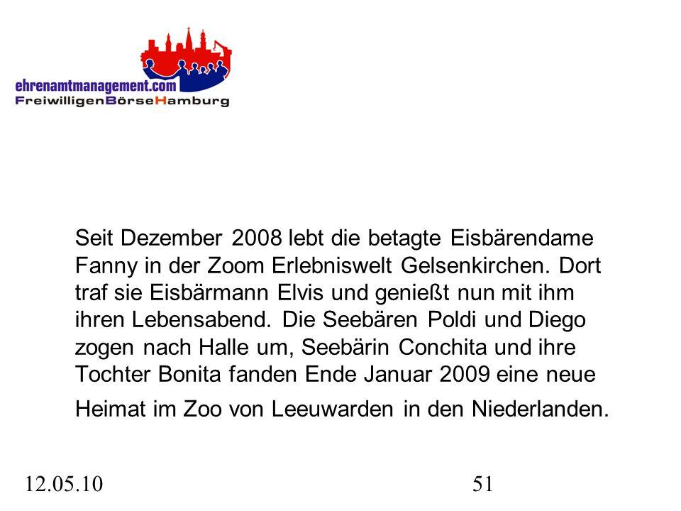 12.05.1051 Seit Dezember 2008 lebt die betagte Eisbärendame Fanny in der Zoom Erlebniswelt Gelsenkirchen.