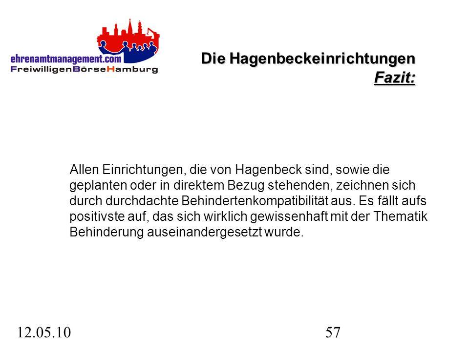 12.05.1057 Die Hagenbeckeinrichtungen Fazit: Allen Einrichtungen, die von Hagenbeck sind, sowie die geplanten oder in direktem Bezug stehenden, zeichnen sich durch durchdachte Behindertenkompatibilität aus.