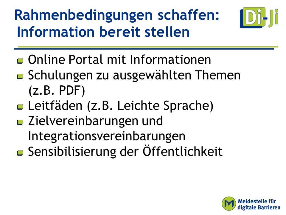 Rahmenbedingungen schaffen: Information bereit stellen Online Portal mit Informationen Schulungen zu ausgewählten Themen (z.B.