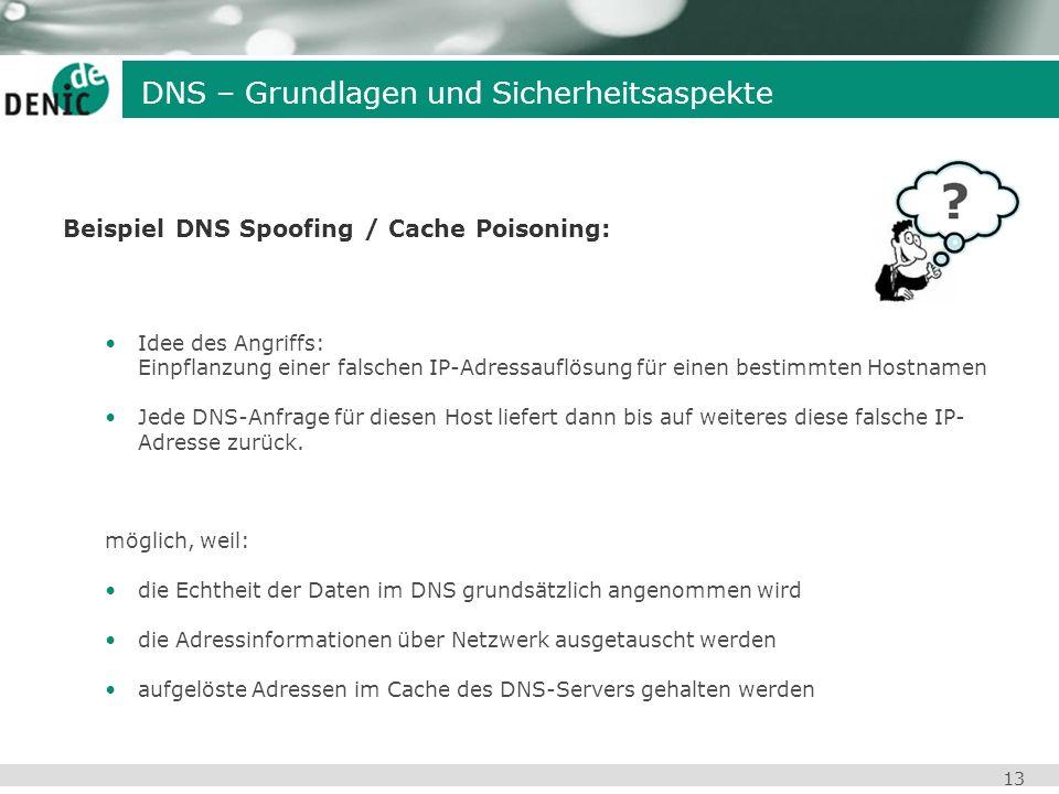 13 Beispiel DNS Spoofing / Cache Poisoning: Idee des Angriffs: Einpflanzung einer falschen IP-Adressauflösung für einen bestimmten Hostnamen Jede DNS-
