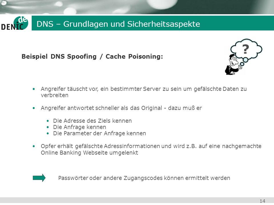 14 Beispiel DNS Spoofing / Cache Poisoning: Angreifer täuscht vor, ein bestimmter Server zu sein um gefälschte Daten zu verbreiten Angreifer antwortet