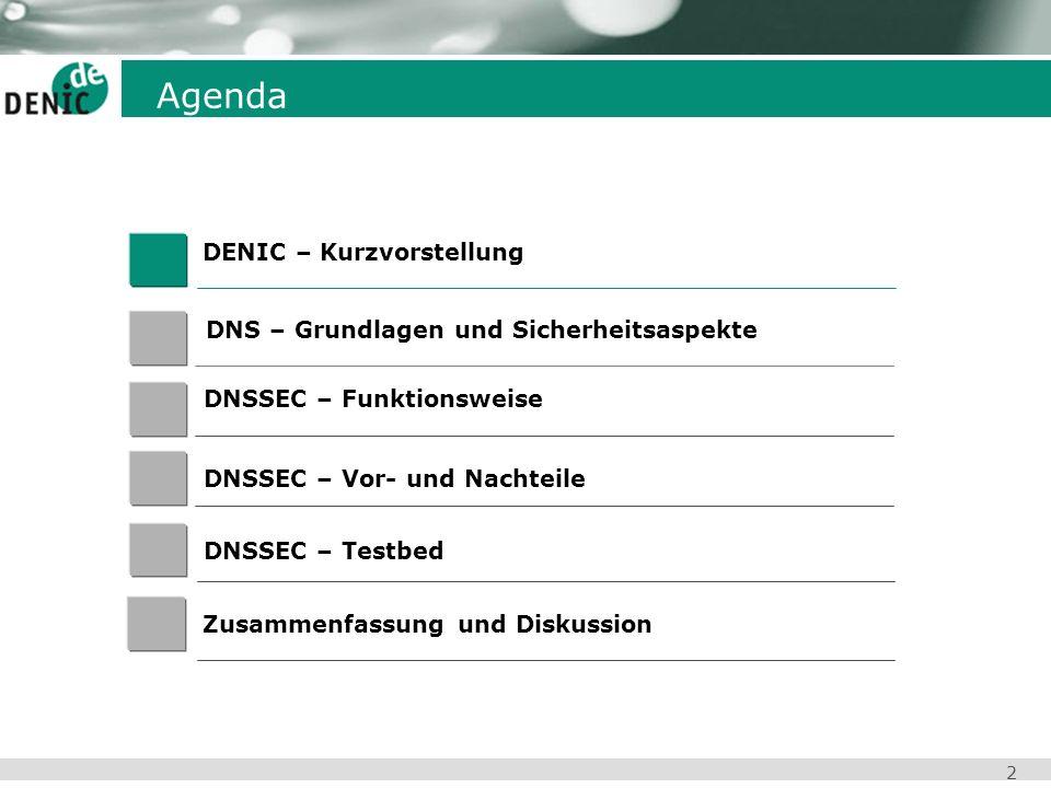2 Agenda DENIC – Kurzvorstellung DNSSEC – Vor- und Nachteile Zusammenfassung und Diskussion DNS – Grundlagen und Sicherheitsaspekte DNSSEC – Testbed D