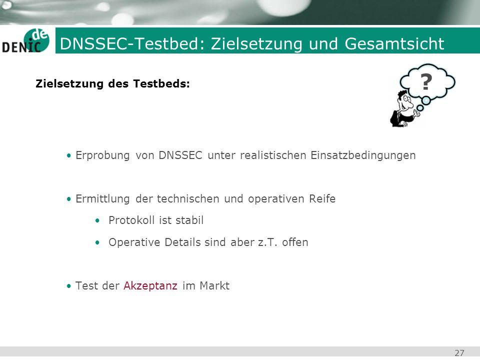 27 Erprobung von DNSSEC unter realistischen Einsatzbedingungen Ermittlung der technischen und operativen Reife Protokoll ist stabil Operative Details