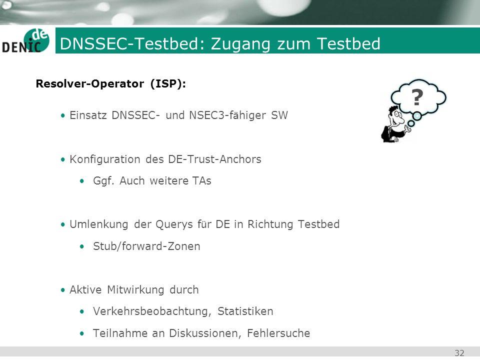 32 DNSSEC-Testbed: Zugang zum Testbed Einsatz DNSSEC- und NSEC3-f ä higer SW Konfiguration des DE-Trust-Anchors Ggf. Auch weitere TAs Umlenkung der Qu