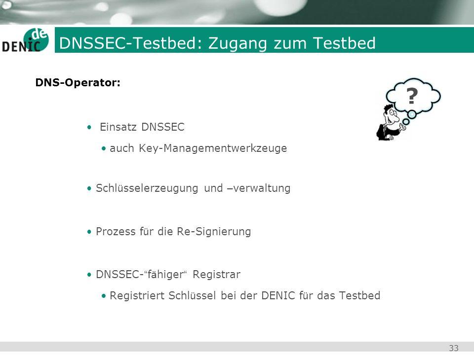 33 Einsatz DNSSEC auch Key-Managementwerkzeuge Schl ü sselerzeugung und – verwaltung Prozess f ü r die Re-Signierung DNSSEC- f ä higer Registrar Regis