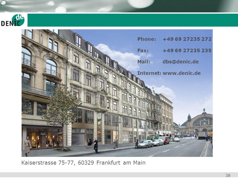 38 Phone: +49 69 27235 272 Fax: +49 69 27235 235 Mail: dbs@denic.de Internet: www.denic.de Kaiserstrasse 75-77, 60329 Frankfurt am Main
