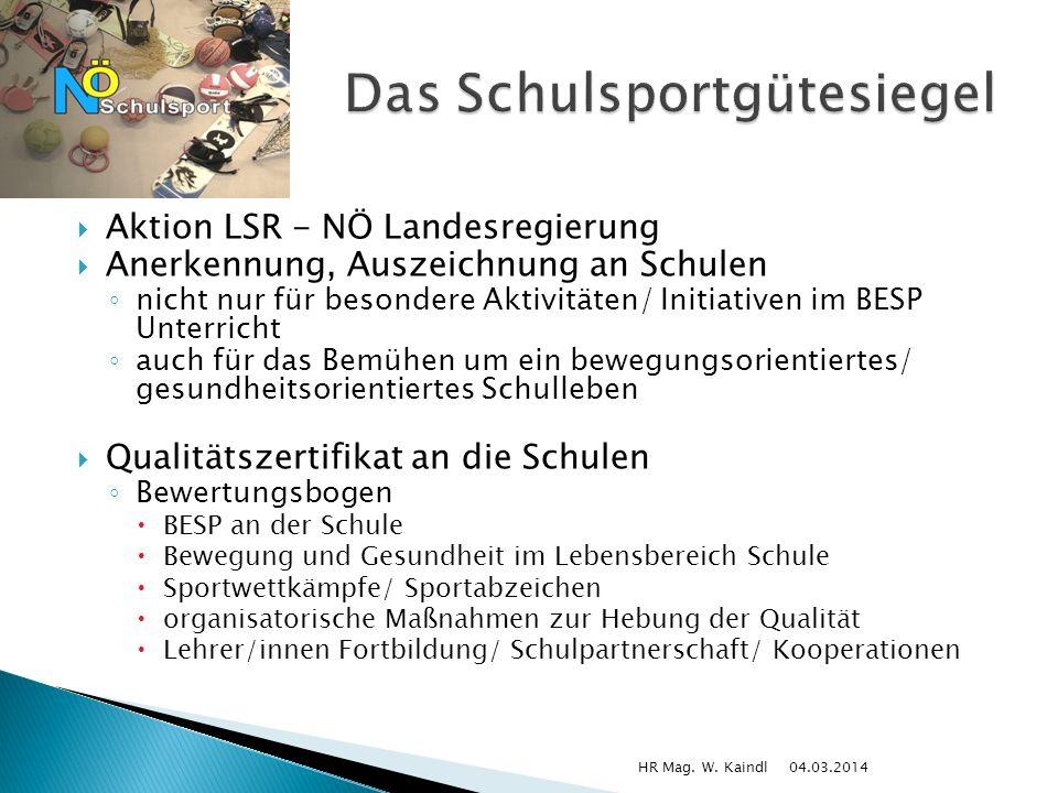 Aktion LSR - NÖ Landesregierung Anerkennung, Auszeichnung an Schulen nicht nur für besondere Aktivitäten/ Initiativen im BESP Unterricht auch für das