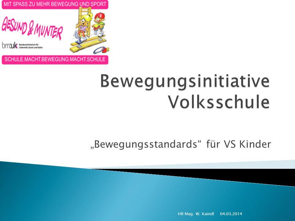 Bewegungsstandards für VS Kinder 04.03.2014HR Mag. W. Kaindl