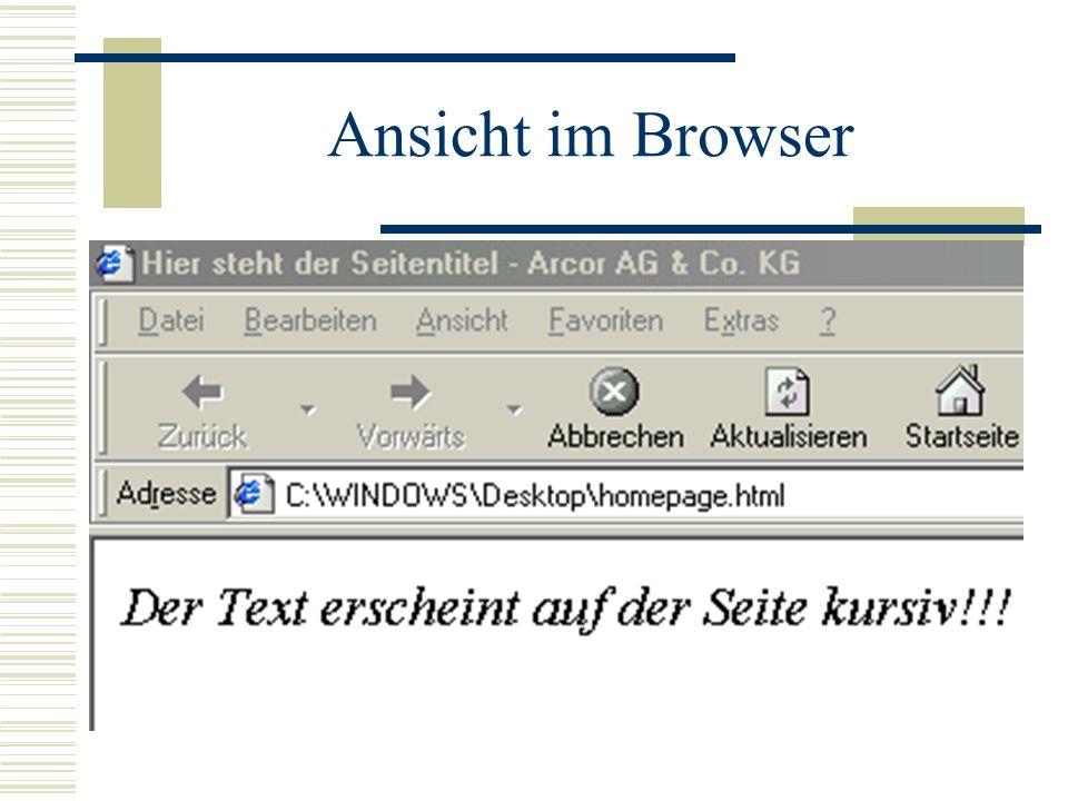 Ansicht im Browser