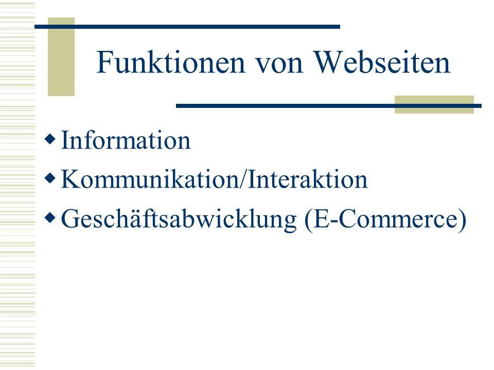 Funktionen von Webseiten Information Kommunikation/Interaktion Geschäftsabwicklung (E-Commerce)