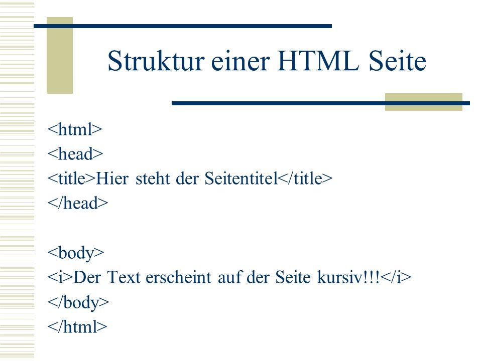 Struktur einer HTML Seite Hier steht der Seitentitel Der Text erscheint auf der Seite kursiv!!!