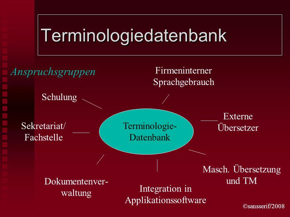 ©sansserif/2008 Terminologiedatenbank Terminologie- Datenbank Schulung Sekretariat/ Fachstelle Dokumentenver- waltung Firmeninterner Sprachgebrauch Externe Übersetzer Masch.