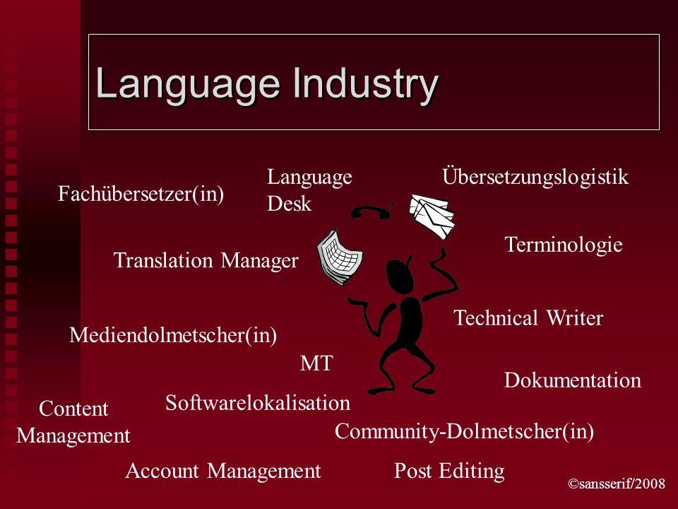 ©sansserif/2008 Language Industry Fachübersetzer(in) Community-Dolmetscher(in) Translation Manager Übersetzungslogistik Terminologie Softwarelokalisat