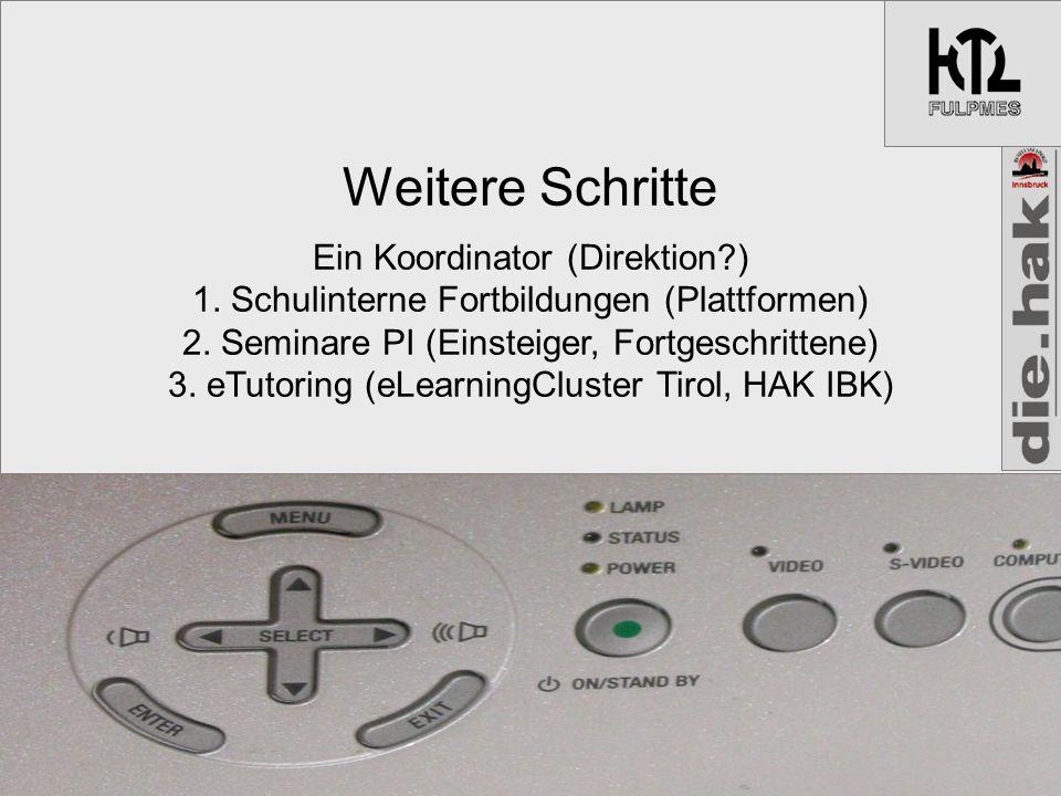 Weitere Schritte Ein Koordinator (Direktion ) 1. Schulinterne Fortbildungen (Plattformen) 2.
