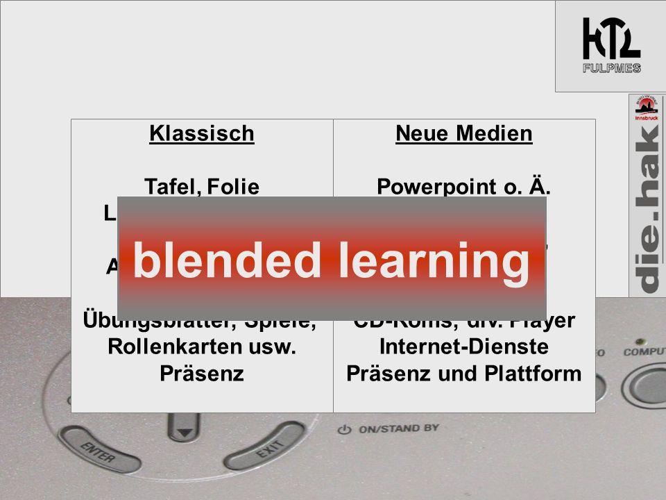 Klassisch Tafel, Folie Lehrbuch und AB, Audio-Kassette Auth.