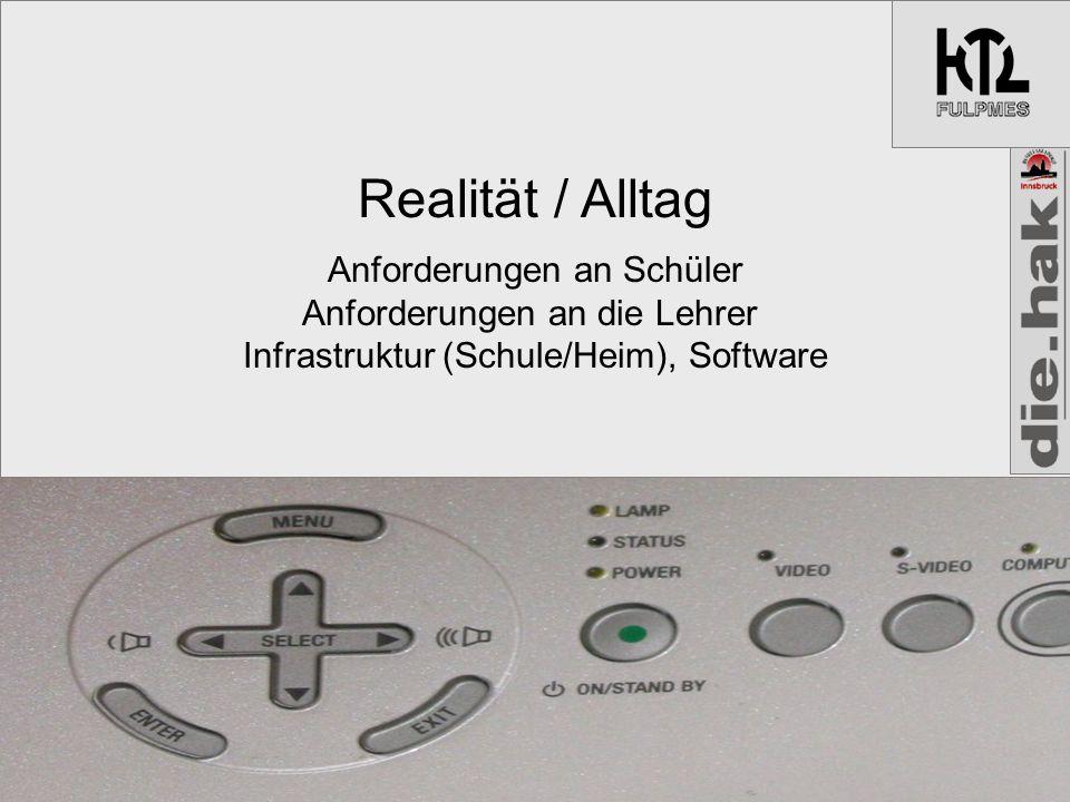Realität / Alltag Anforderungen an Schüler Anforderungen an die Lehrer Infrastruktur (Schule/Heim), Software