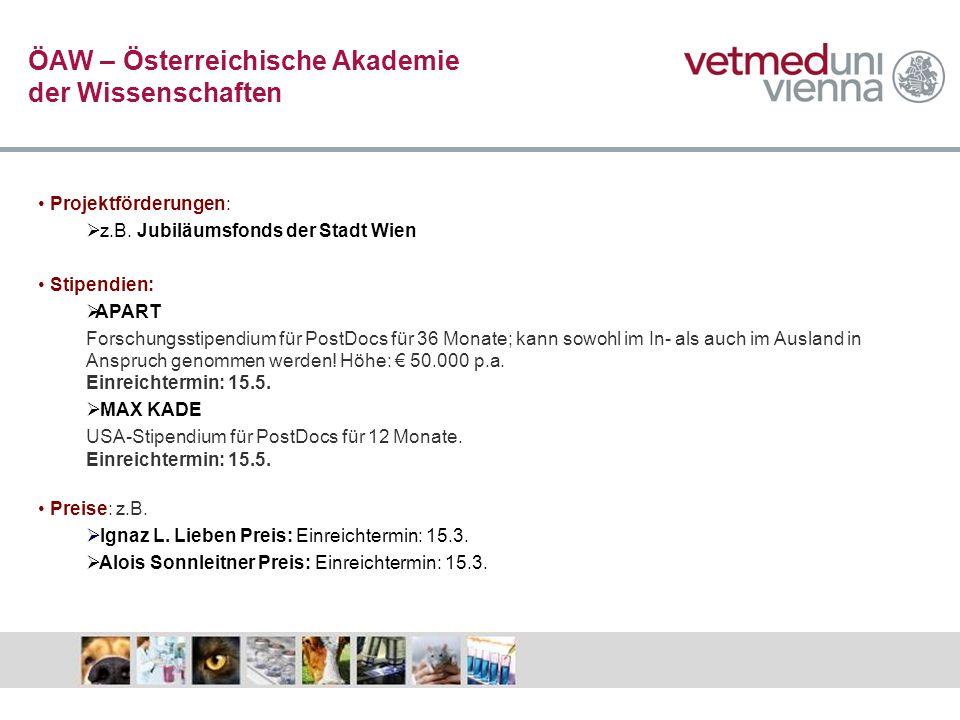 ÖAW – Österreichische Akademie der Wissenschaften Projektförderungen: z.B. Jubiläumsfonds der Stadt Wien Stipendien: APART Forschungsstipendium für Po