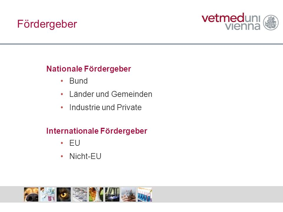 Fördergeber Nationale Fördergeber Bund Länder und Gemeinden Industrie und Private Internationale Fördergeber EU Nicht-EU