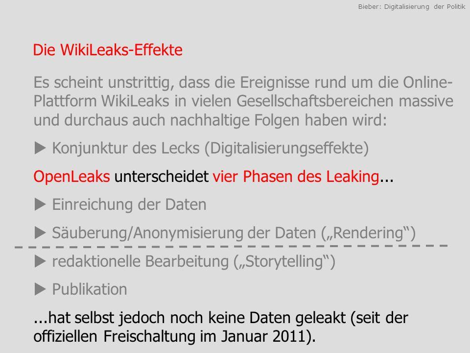 Bieber: Digitalisierung der Politik Die WikiLeaks-Effekte Es scheint unstrittig, dass die Ereignisse rund um die Online- Plattform WikiLeaks in vielen Gesellschaftsbereichen massive und durchaus auch nachhaltige Folgen haben wird: Konjunktur des Lecks (Digitalisierungseffekte) OpenLeaks unterscheidet vier Phasen des Leaking...