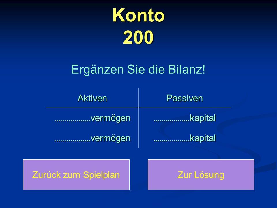 Konto 200 Zurück zum SpielplanZur Lösung Ergänzen Sie die Bilanz! AktivenPassiven.................. vermögen.................. kapital................