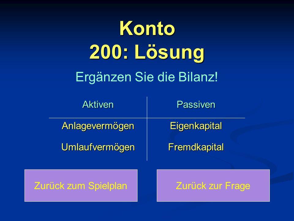 Konto 200: Lösung Zurück zum SpielplanZurück zur Frage AktivenPassiven AnlagevermögenEigenkapital UmlaufvermögenFremdkapital Ergänzen Sie die Bilanz!