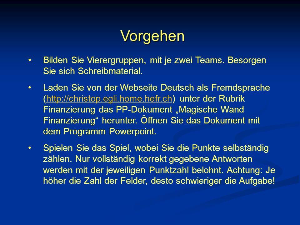 Vorgehen Bilden Sie Vierergruppen, mit je zwei Teams. Besorgen Sie sich Schreibmaterial. Laden Sie von der Webseite Deutsch als Fremdsprache (http://c