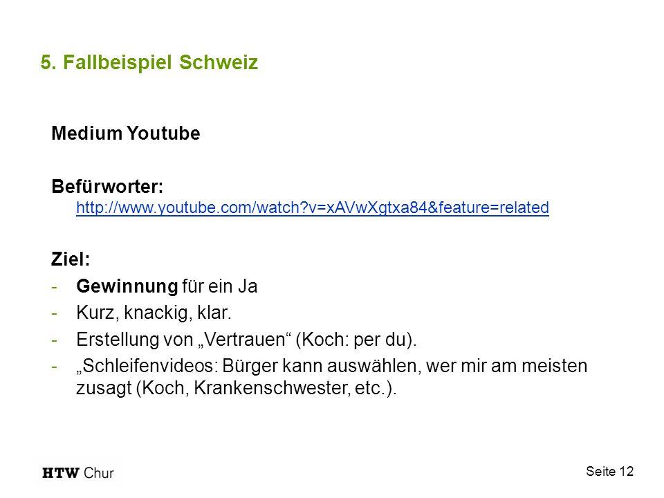 Seite 12 5. Fallbeispiel Schweiz Medium Youtube Befürworter: http://www.youtube.com/watch?v=xAVwXgtxa84&feature=related http://www.youtube.com/watch?v