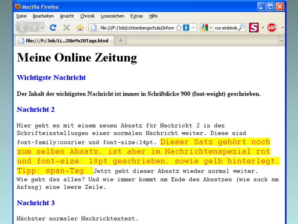 04.03.2014 10 Übung (V) - Style-Attribute Baue die Seite links möglichst originalgetreu nach.