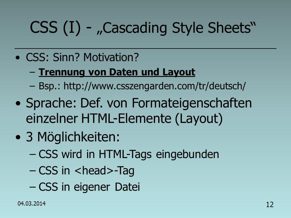 04.03.2014 11 Übung (VI) - CSS