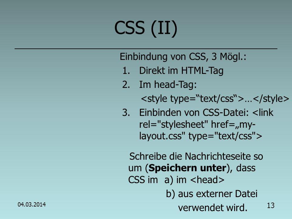 12 CSS (I) - Cascading Style Sheets CSS: Sinn.Motivation.