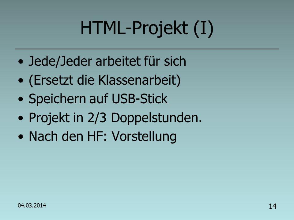 CSS (II) Einbindung von CSS, 3 Mögl.: 1.Direkt im HTML-Tag 2.Im head-Tag: … 3.Einbinden von CSS-Datei: Schreibe die Nachrichteseite so um (Speichern unter), dass CSS im a) im b) aus externer Datei verwendet wird.