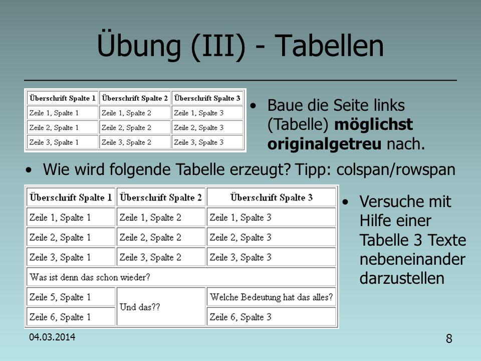 04.03.2014 7 HTML (VII): Quelltext strukturieren.Muss strukturiert werden Wie strukturieren.