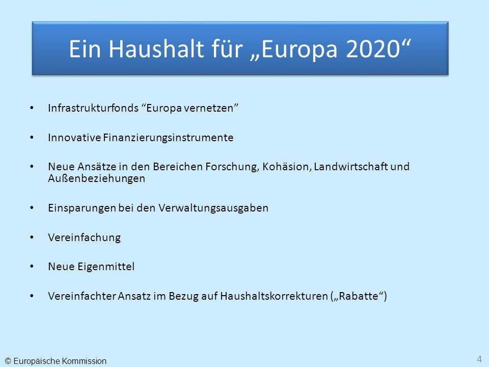 © Europäische Kommission 4 Infrastrukturfonds Europa vernetzen Innovative Finanzierungsinstrumente Neue Ansätze in den Bereichen Forschung, Kohäsion,