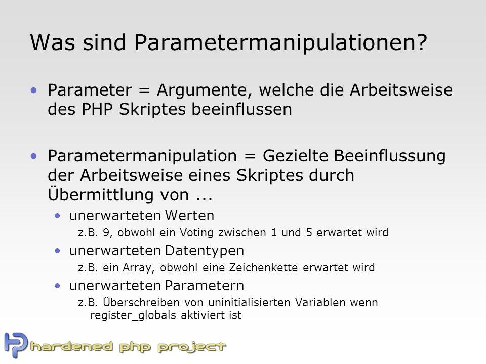 Was sind Parametermanipulationen.