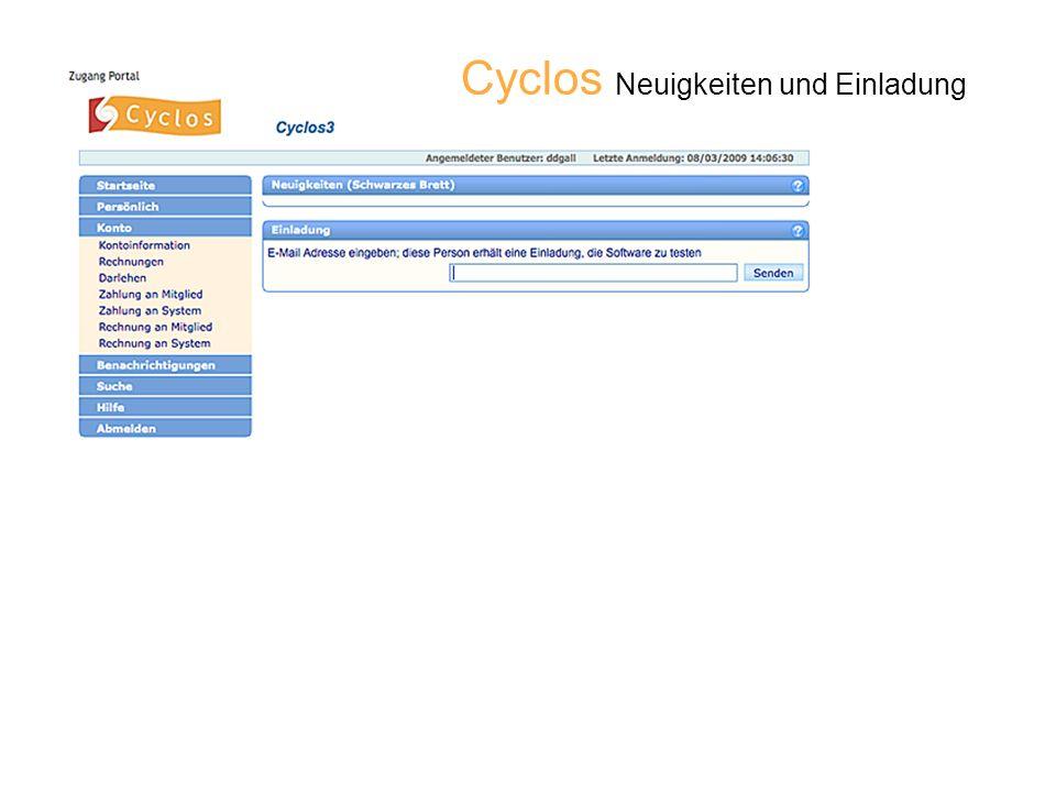 Cyclos Neuigkeiten und Einladung