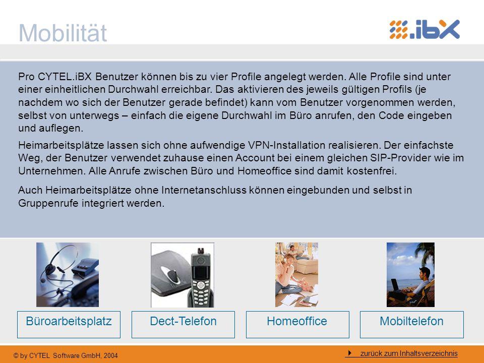 © by CYTEL Software GmbH, 2004 Mobilität zurück zum Inhaltsverzeichnis Pro CYTEL.iBX Benutzer können bis zu vier Profile angelegt werden. Alle Profile
